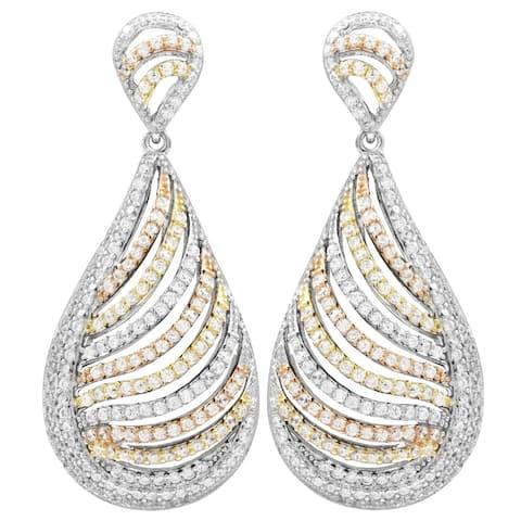 Luxiro Sterling Silver Tri-color Finish Cubic Zirconia Dangling Teardrop Earrings