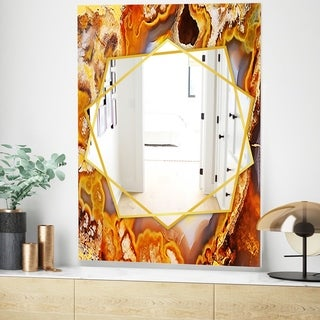 Designart Fire With Rrystals Modern Mirror - Frameless Wall Mirror - Gold (23.6 in. wide x 35.4 in. high)
