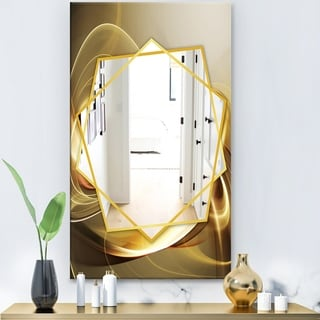 Designart Elegant Modern Sofa Modern Mirror - Frameless Contemporary Wall Mirror - Gold (27.5 in. wide x 47.4 in. high)