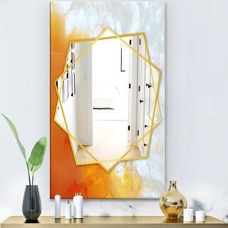 Designart 'True Yellow Stone' Modern Mirror - Frameless Contemporary Wall Mirror - White