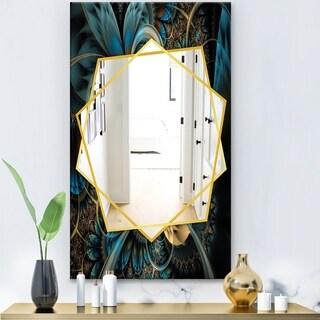 Designart Symmetrical Blue Gold Fractal Flower Modern Mirror - Frameless Contemporary Wall Mirror (27.5 in. wide x 47.4 in. high)