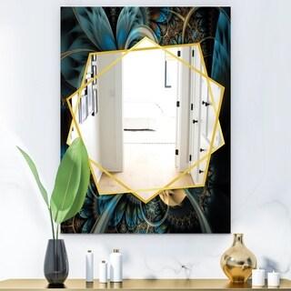 Designart Symmetrical Blue Gold Fractal Flower Modern Mirror - Frameless Contemporary Wall Mirror (29.5 in. wide x 39.4 in. high)