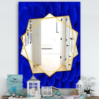 Designart Abstract Blue Flower Petals Traditional Mirror - Frameless Wall Mirror (29.5 in. wide x 39.4 in. high)