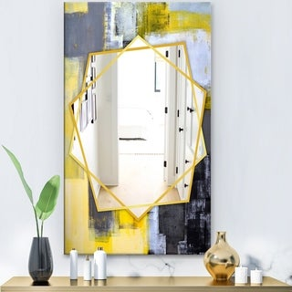 Designart 'Grey and Yellow Blur Abstract' Modern Mirror - Frameless Wall Mirror - Grey
