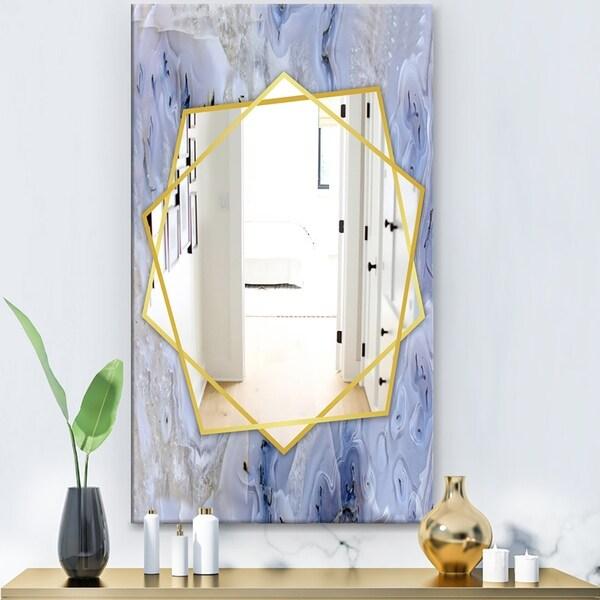 Designart 'Agate Stone' Modern Mirror - Frameless Contemporary Wall Mirror - White