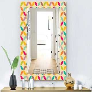 Designart 'Vintage Neutral Pattern' Modern Mirror - Frameless Wall Mirror - Multi