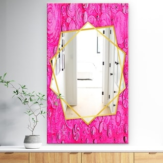Designart 'Summer HawaIIn Flowers' Traditional Mirror - Frameless Wall Mirror - Pink
