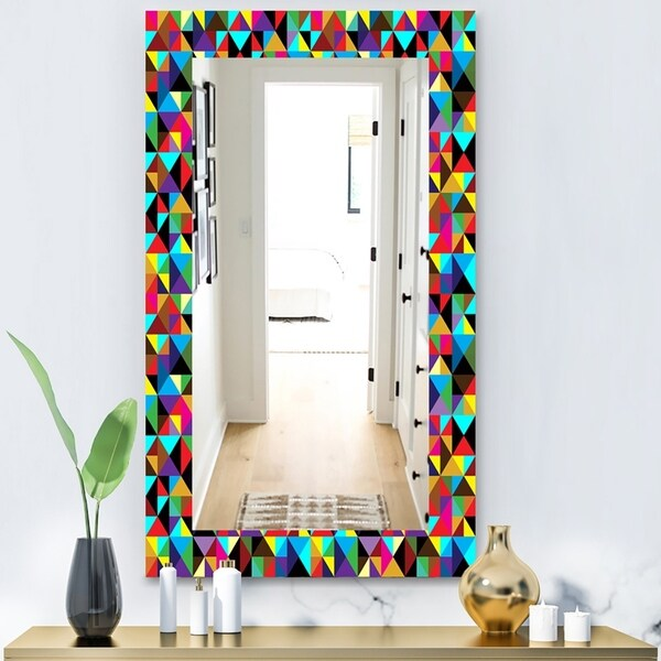 Designart 'Triangular Colourfields 1' Modern Mirror - Frameless Wall Mirror - Multi