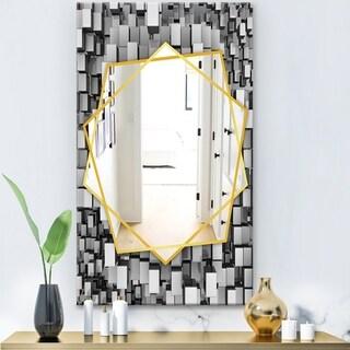 Designart 'Black and Grey Cubes' Modern Mirror - Frameless Contemporary Wall Mirror - Silver