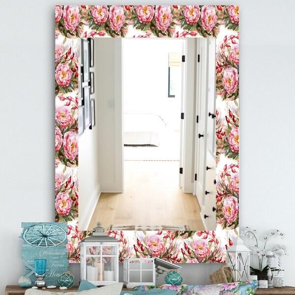 Designart 'Pink Blossom 1' Farmhouse Mirror - Frameless Vanity Mirror - White