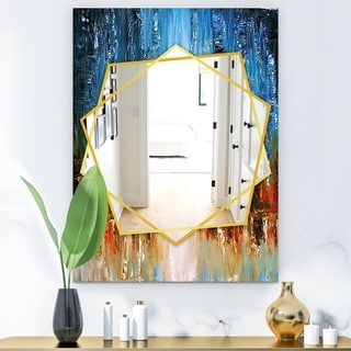Designart Moon Modern Mirror - Frameless Contemporary Wall Mirror - Blue (29.5 in. wide x 39.4 in. high)