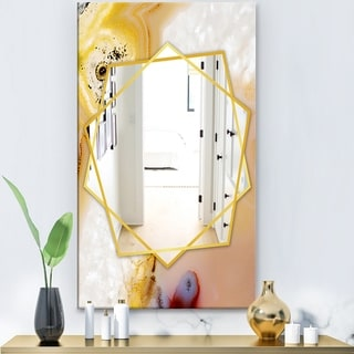 Designart 'Natural Brown Banded Agate' Modern Mirror - Frameless Contemporary Wall Mirror - White