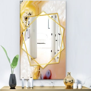 Designart Natural Brown Banded Agate Modern Mirror - Frameless Contemporary Wall Mirror - White (27.5 in. wide x 47.4 in. high)
