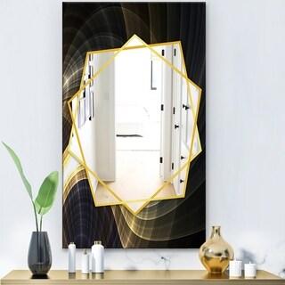 Designart Yellow Fractal Light Art Modern Mirror - Frameless Contemporary Wall Mirror - Multi (27.5 in. wide x 47.4 in. high)