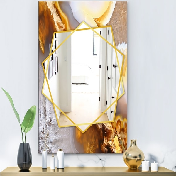 Designart 'Natural Brown Agate At Crystals' Modern Mirror - Frameless Contemporary Wall Mirror - Gold