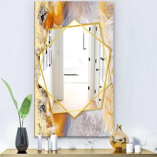 Designart 'Natural Brown Agate With Macro Crystals' Modern Mirror - Frameless Contemporary Wall Mirror - White
