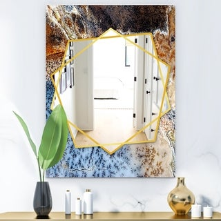 Designart Close Up Modern Mirror - Frameless Contemporary Wall Mirror - Brown (29.5 in. wide x 39.4 in. high)