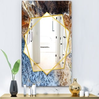Designart 'Close Up' Modern Mirror - Frameless Contemporary Wall Mirror - Brown