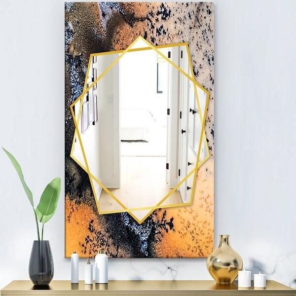 Designart 'Moss Agate Close Up' Modern Mirror - Frameless Contemporary Wall Mirror - Gold