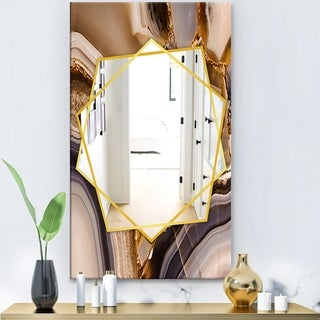 Designart Piece Of Polished Agate Texture Modern Mirror - Frameless Contemporary Wall Mirror - Brown (27.5 in. wide x 47.4 in. high)