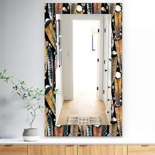 Designart 'Feathers 1' Bohemian and Eclectic Mirror - Frameless Wall Mirror - Black