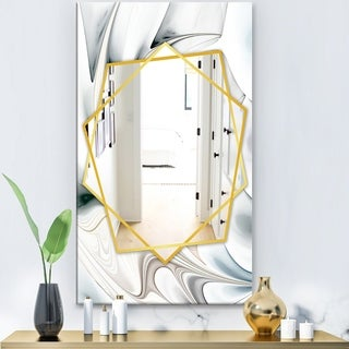Designart 'White Stained Glass Floral Art' Modern Mirror - Frameless Contemporary Wall Mirror - White
