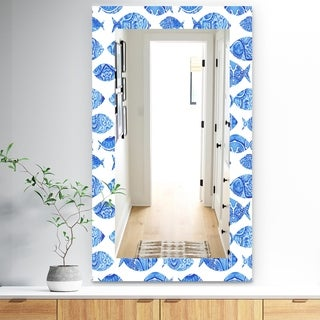 Designart 'Costal Creatures 1' Traditional Mirror - Frameless Wall Mirror - Blue