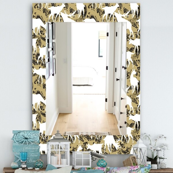 Designart 'Wild Animals Pattern' Farmhouse Mirror - Frameless Vanity Mirror - White