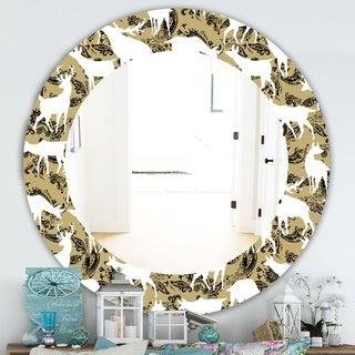 Designart 'Wild Animals Pattern' Farmhouse Mirror - Frameless Oval or Round Wall Mirror - White
