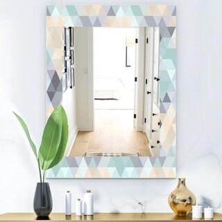 Designart Triangular Colourfields 28 Modern Mirror - Frameless Wall Mirror - Blue (29.5 in. wide x 39.4 in. high)
