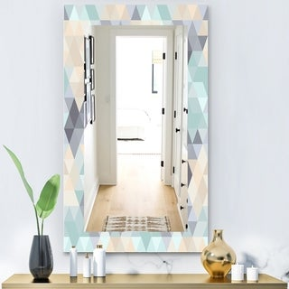 Designart 'Triangular Colourfields 28' Modern Mirror - Frameless Wall Mirror - Blue