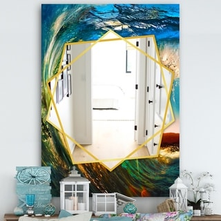 Designart Colored Ocean Waves Falling Down Traditional Mirror - Frameless Wall Mirror - Blue (29.5 in. wide x 39.4 in. high)