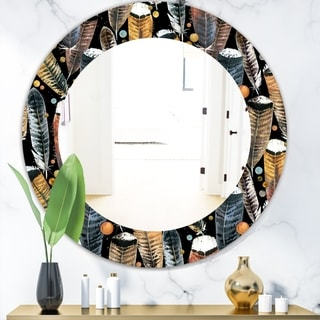 Designart 'Feathers 1' Bohemian and Eclectic Mirror - Frameless Oval or Round Wall Mirror