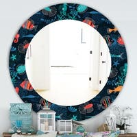 Designart 'Costal Creatures 2' Traditional Mirror - Frameless Oval or Round Wall Mirror - Blue