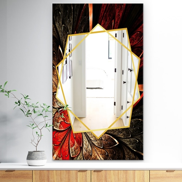 Designart 'Fractal Flower In Yellow and Red' Traditional Mirror - Frameless Wall Mirror - Red