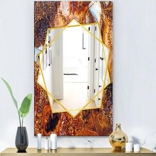 Designart 'Brown Moss Agate' Modern Mirror - Frameless Contemporary Wall Mirror - Brown