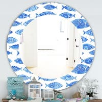 Designart 'Costal Creatures 1' Traditional Mirror - Frameless Oval or Round Wall Mirror - Blue