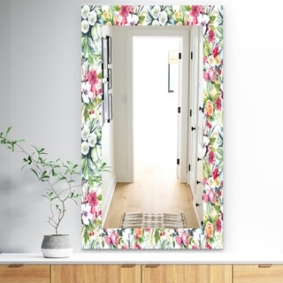 Designart 'Pink Blossom 2' Traditional Mirror - Frameless Wall Mirror - White