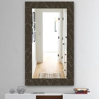 Designart Scandinavian 22 Mid-Century Mirror - Frameless Wall Mirror - Gold (27.5 in. wide x 47.4 in. high)