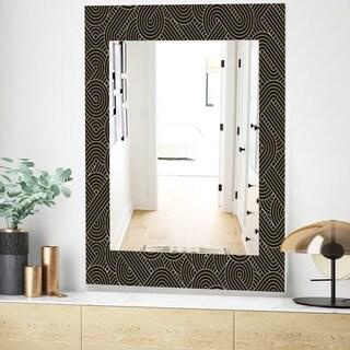 Designart Scandinavian 22 Mid-Century Mirror - Frameless Wall Mirror - Gold (23.6 in. wide x 35.4 in. high)