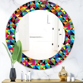 Designart 'Triangular Colourfields 1' Modern Mirror - Frameless Oval or Round Wall Mirror - Multi