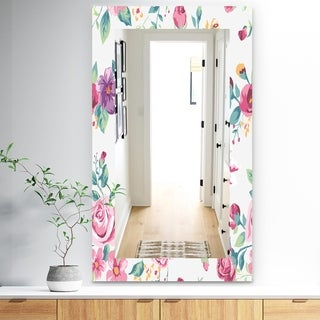 Designart 'Pink Blossom 31' Traditional Mirror - Frameless Wall Mirror - Pink