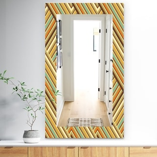 Designart 'Retro Square Waves' Bohemian and Eclectic Mirror - Frameless Modern Wall Mirror - Blue