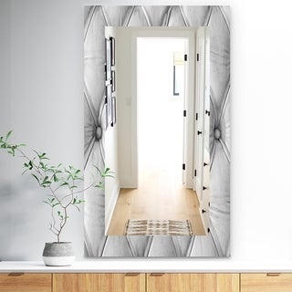 Designart 'Luxury Classic Leather Pattern' Bohemian and Eclectic Mirror - Frameless Vanity Mirror - White