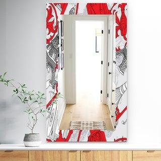 Designart 'Drawing Of Paris With Red Keys' Traditional Mirror - Frameless Vanity Mirror