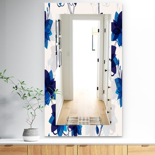 Designart 'Abstract Blue Flowers' Traditional Mirror - Frameless Wall Mirror