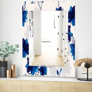 Designart Abstract Blue Flowers Traditional Mirror - Frameless Wall Mirror (23.6 in. wide x 35.4 in. high)