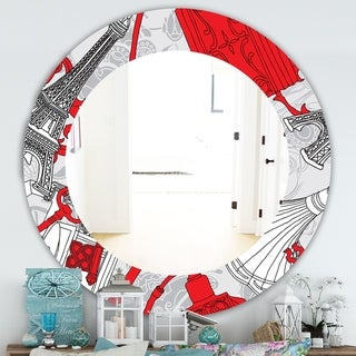 Designart 'Drawing Of Paris With Red Keys' Traditional Mirror - Frameless Oval or Round Wall Mirror