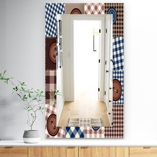 Designart 'Buttons On Squared Patchwork' Traditional Mirror - Frameless Wall Mirror - Brown