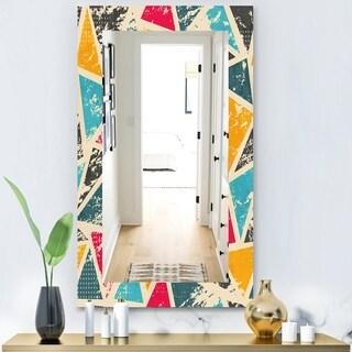 Designart 'Triangular Colourfields 29' Modern Mirror - Frameless Wall Mirror - Gold